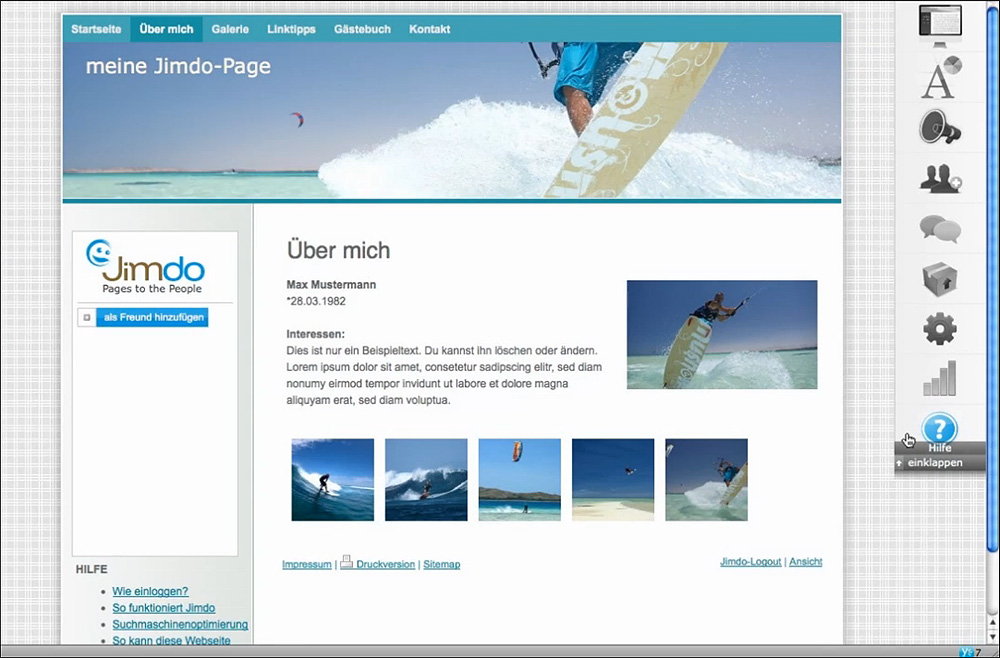 Jimdo-Screenshot