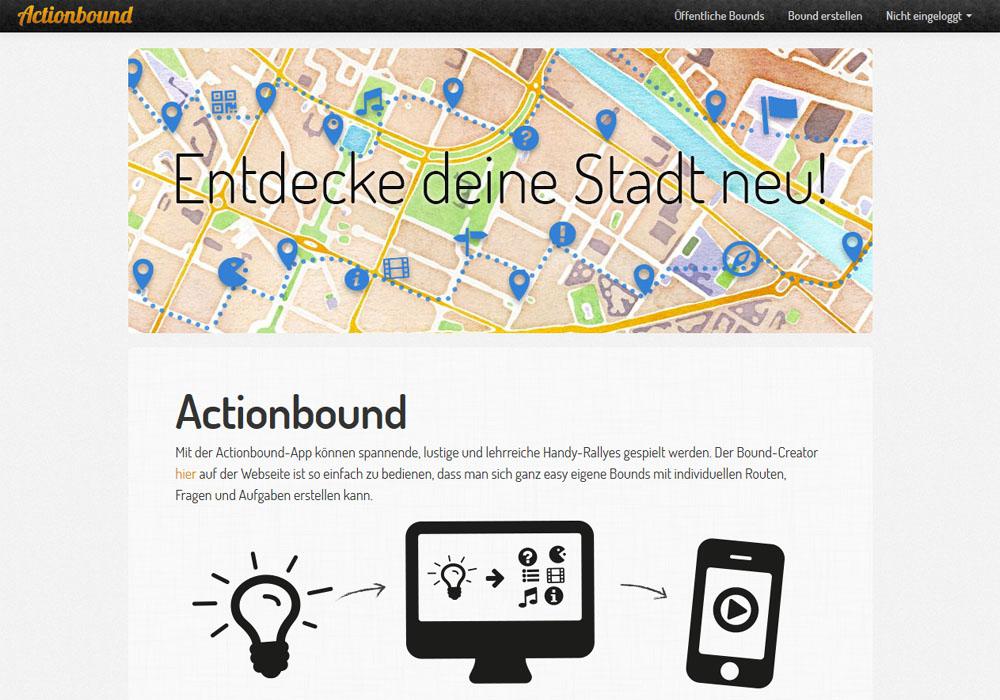 Actionbound Screenshot Startseite